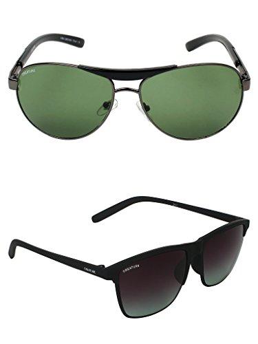 Creature Green & Black Sunglasses Combo with UV Protection (Lens-Green & Black  Frame-Grey & Black  SUN-036-DOIT-006)