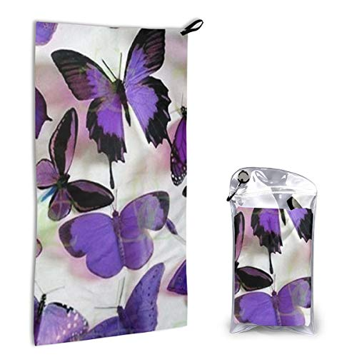 Microfiber Towel Purple Butterflies Sports Travel Beach Towels Washcloth Hand Fast Drying, Super Absorbent, Compact Size. Perfect for Camping, Gym, Workout, Swimming, Yoga, Backpacking