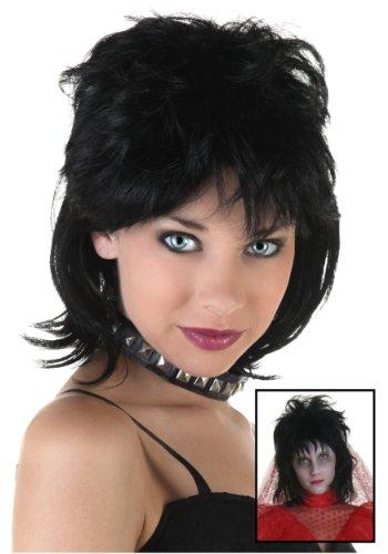 - FunCostumes Womens 80s Rocker Black Synthetic Wig - ST