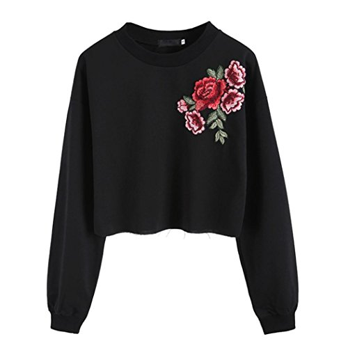 Rose Embroidery Applique Top, Litetao Women Girls Fashion Sweatshirt Pullover Blouse