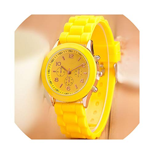 - Fashion 16 Color Quartz Women Watches Lover's Watch Classic Style Simple Casual Silica Gel Strap wristwatches Men Women's Clock,Yellow
