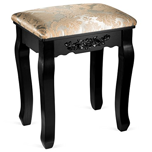 - Fineboard Luxury Vanity Table Stool Wood Unique Shape Floral Crafted for Vanity Tables or Other Extravagant Tables with Artwork, Black