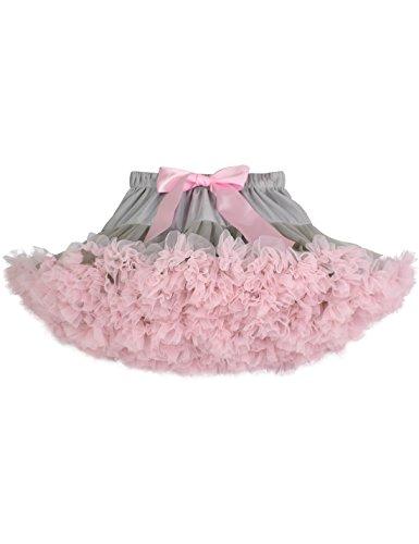 Baby Girls Tutu Skirt Princess Fluffy Soft Chiffon Ballet Birthday Party Pettiskirt Gray-Pink XS]()
