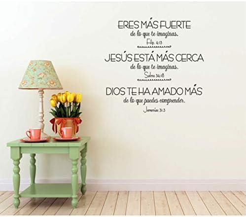 Versículos de la Biblia Vinilos en español Vinilos decorativos Dormitorio de la sala de estar cristiana Pegatinas de pared decorativos 60x57cm: Amazon.es: Bricolaje y herramientas