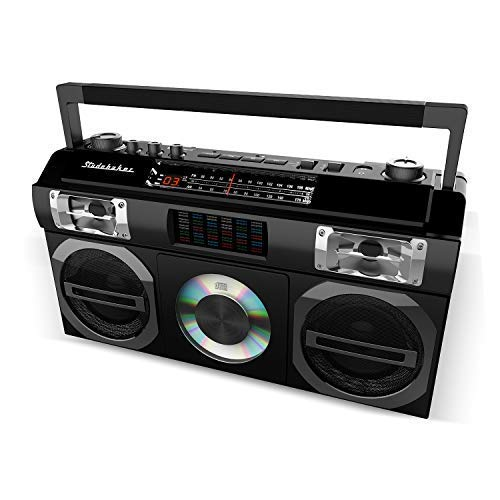 Studebaker SB2149B Master Blaster Bluetooth Boombox with 3 Way Power, AM/FM Radio, USB Port, CD Player with MP3 Playback, LED EQ and 10 Watts RMS Speaker in Black -