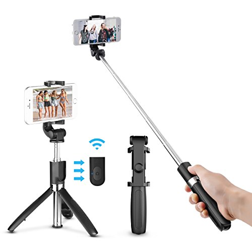 Bluetooth Selfie Stick Tripod, ELEGIANT 2 in 1 Extendable Monopod Selfie Stick with Removable Mini Bluetooth Remote, Adjustable Head and Tripod Stand Selfie Stick for iPhone/Huawei/Samsung (Black) by ELEGIANT