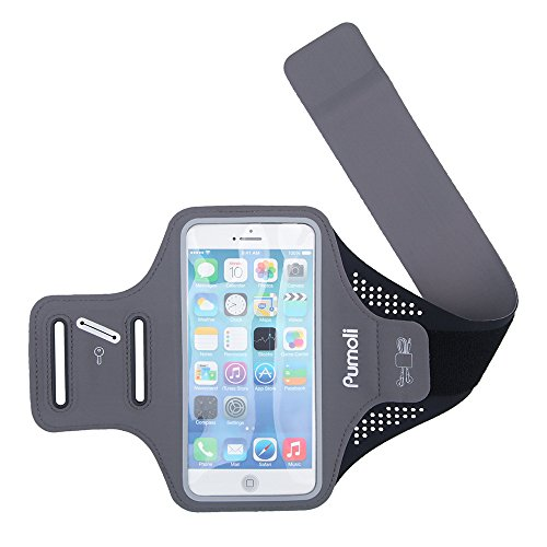 Running Armband  Pumoli Sports Armband Reflective Running Arm Bands For Iphnoe 6S 7 Plus Samsung Galaxy S7 With  Fingerprint Touch  For Mens   Womens Outdoor Gym Jogging Fitness  Gray Black 5 5Inch