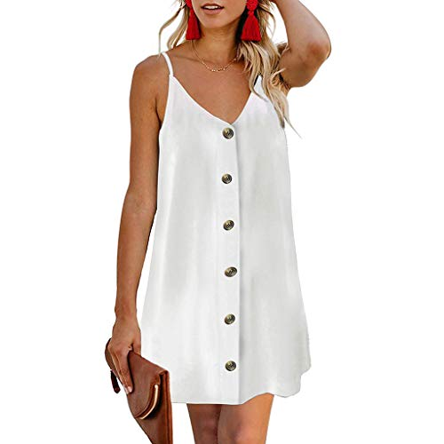 Toponly Women's Camis Mini Dresses Beach Summer Solid A-Line Spaghetti Strap Button Down Casual Sundress]()