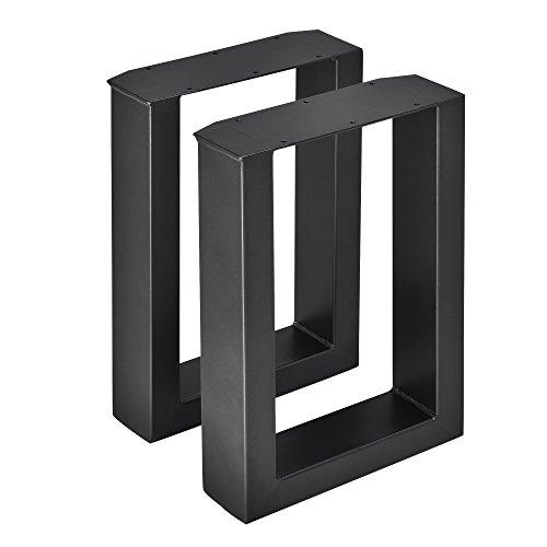 [en.casa] 2 x Conjunto de Patas de Mesa - Set de 2X Patas de Mesa - Metal - Patas de los Muebles - 30 x 43 cm - para Banco o para Mesa de Centro - Armazon de Mesa - con proteccion para Suelo - Negro