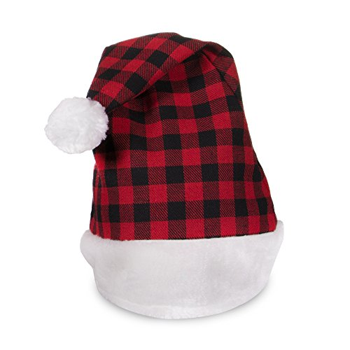 Windy City Novelties Holiday Christmas Plaid Santa Hat for Adults and Kids (Plaid Design Santa Hat)