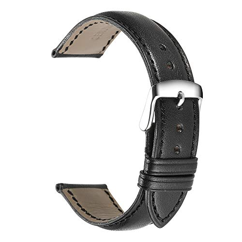 iStrap Genuine Calfskin Leather Watch Band 24mm 22mm 21mm 20mm 19mm 18mm Smooth Pattern Replacement Strap Steel Pin Buckle Super Soft for Men and Women (Multi-Colors to Choose)