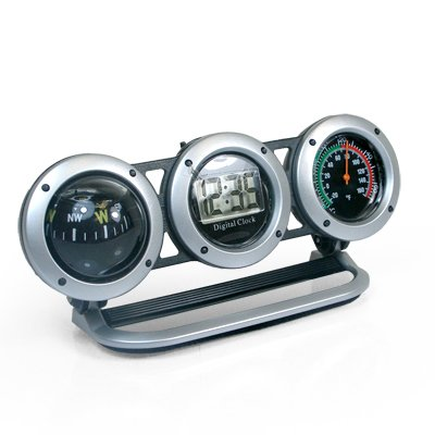 Car Dash Mount 3 in 1 Digital Clock, Compass and Thermometer