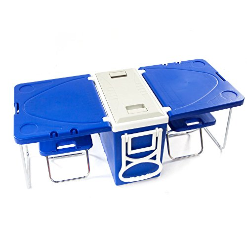 Picnic Roller - 28L/118Cup Capacity Outdoor Picnic Multi-function Insulated Rolling Cooler, Stainless Steel Portable Folding Picnic Table, Ice Cube Roller Cooler, Kitchen Cooler Bins with Tables & Chairs (Blue)