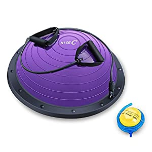 Well-Being-Matters 41NBQsX6tpL._SS300_ Nice C Balance Ball Balance Trainer, Half Ball with Resistant Band, Strength Exercise Fitness Yoga with Foot Pump