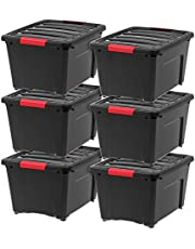 IRIS USA, Inc TB-28 Stack & Pull Storage Box, 32 Quart, Black