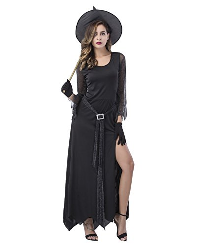 Cute Witch Costumes Women - Halloween Witch Costume for Women Black Zombie Dress Hood Adult Outfit Sexy Wicked Costumes ? L )