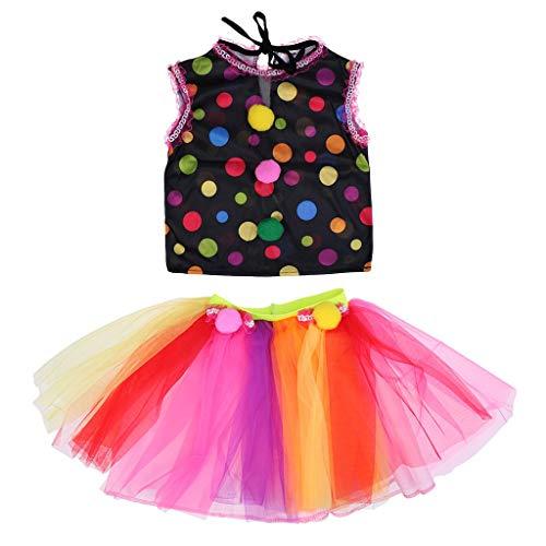 Girls Circus Clown Dress Halloween Party Clown Fancy Dress Circus Costume Spotted Tops Tutu Lace Dress - -
