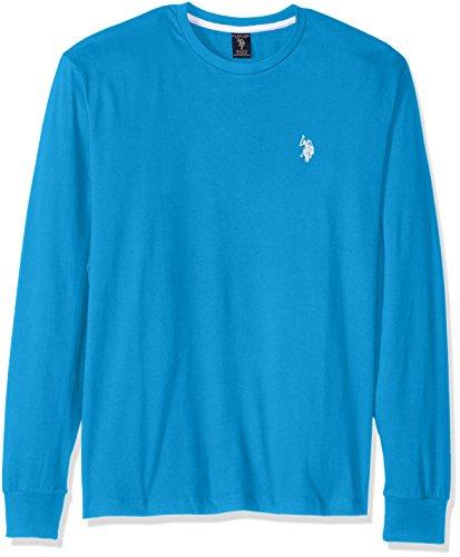 U.S. Polo Assn. Men's Long Sleeve Crew Neck T-Shirt, Teal Blue, Large