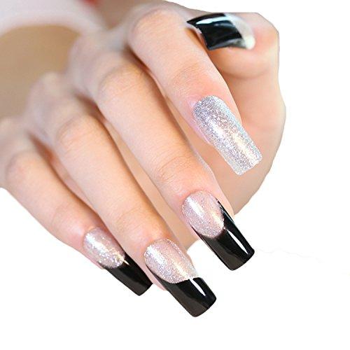 JINDIN 24 Sheet Black Silver Fake Nails Long for Girls French False Nails Full Cover Press On Nails