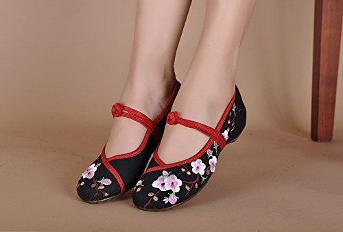 Wunes(TM) ブランドファッション古い北京の蝶刺繍女性の靴中国風フラッツジェーンズカジュアルサイズ34-41柔らかいソールダンスシューズ[6.5ブラック] B078KXCHTD 6.5|ブラック ブラック 6.5