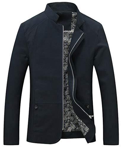 Stand Casual EKU Collar Men's Navy Lightweight Cotton Zip Blue Jacket up Slim Fit W5Iqrnaq