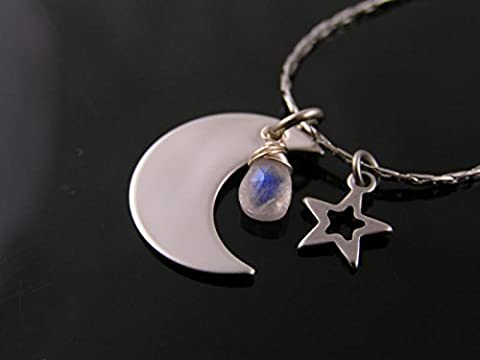 Necklace with Crescent Moon Pendant, Star Charm and Moonstone (Magical Crescent Moon Necklace)