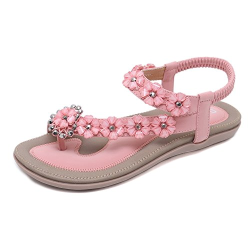 Meehine Women's Elastic Sparkle Flip Flops Summer Beach Thong Flat Sandals Shoes(5.5 B(M) US,Pink 03) -