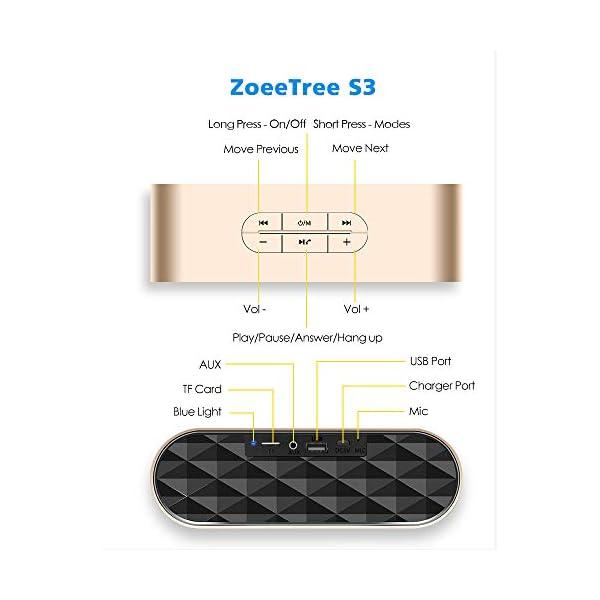ZoeeTree S3 Enceinte Bluetooth portable, Bluetooth 4.2 EDR, avec Son 360°, 10W Haut Parleur Stéréo avec Audio Haute Définition et Basse Améliorée, Mains Libres Appel TF Carte Slot 4