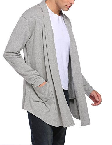 Diaper Men Shawl Collar Ruffle Longline Cardigan Long Sleeve Open Front Draped Knitwear Sweater Duster S-XXL at Amazon Mens Clothing store: