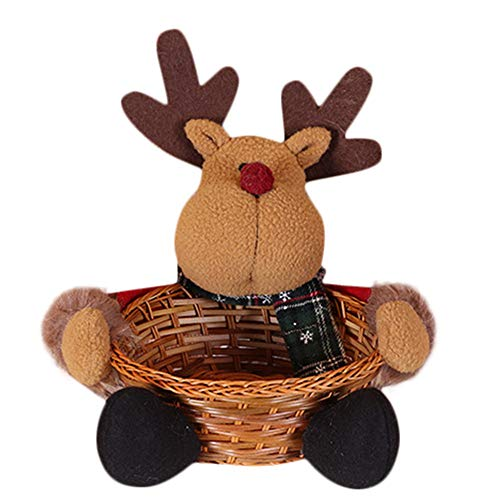 (NEARTIME Cute Exquisite Merry Christmas Candy Storage Basket Decoration Santa Claus Storage Basket (Free Size,)