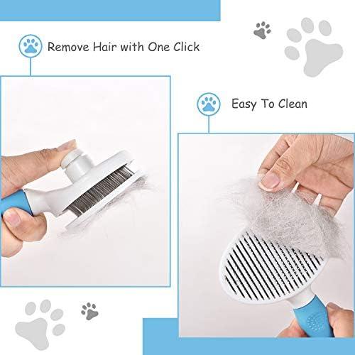 HANGOU Brosse pour chien et chat, brosse de toilettage pour animaux de compagnie avec outils de toilettage à bouton propre, utilisation quotidienne pour nettoyer la fourrure lâche (bleu)