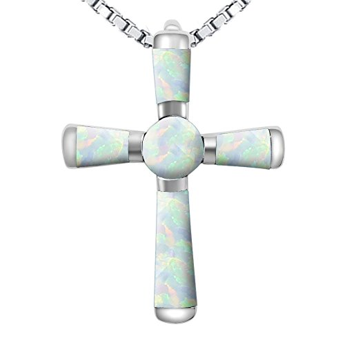 Stone Inverted Pendant (Fashion Silver Religious Cross Pendant Necklace Created White Opal Women Jewelry (White, White))