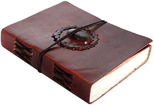 (Leather Bound Journal - Vintage Stone Journal with Lock - Book of Shadow By Rustic Town)