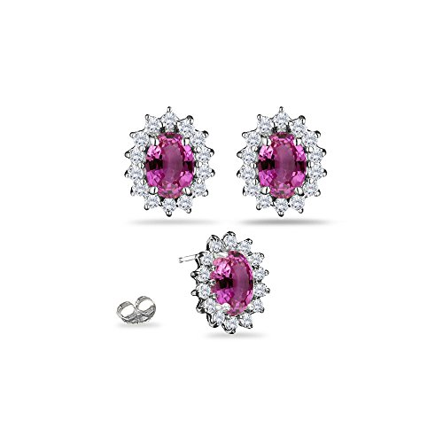 0.55 Ct Diamond & 2.28 Ct Pink Sapphire Cluster Earrings in 18KW Gold Pink Sapphire Cluster Earrings