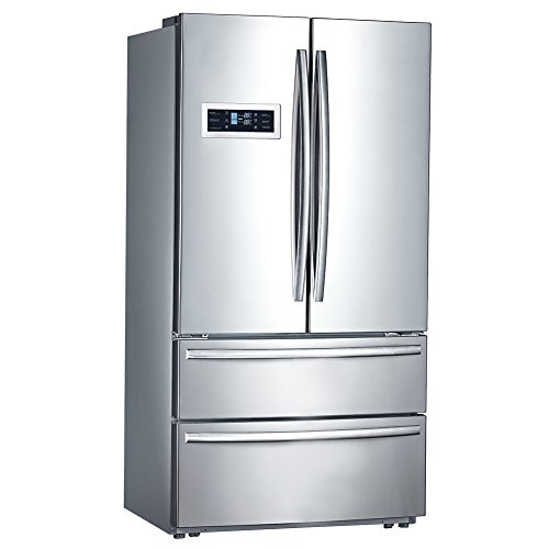 Smad French Style Double Door Refrigerator Large Refrigerator Bottom Freezer For Home, Stainless Steel