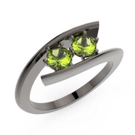 HABY DUO Bagues Argent Peridot Vert 1,6 Rond