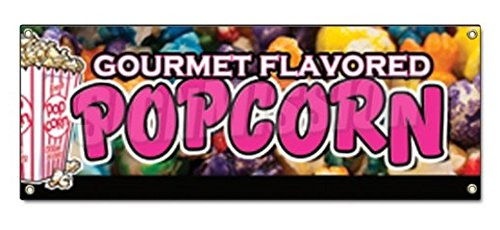 GOURMET FLAVORED POPCORN BANNER SIGN Flavoring Flavor Caramel Cheese Gift - Sticker Graphic - Auto, Wall, Laptop, Cell Sticker