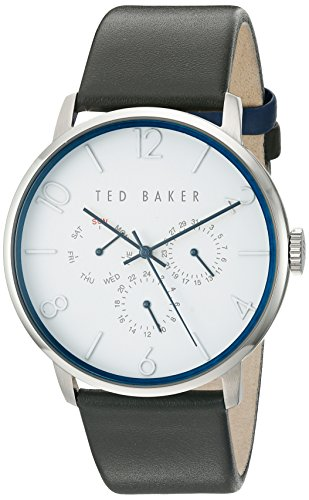 Ted Baker Men's 'Smart Casual' Quartz Stainless Steel and Leather Dress Watch, Color:Grey (Model: 10029567)