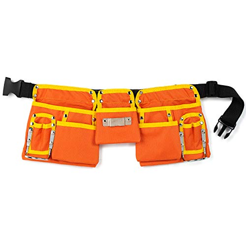GlossyEnd 11 Pocket Orange 600D Polyester Construction Kids Tool Belt, Work Apron Great for Pretended Play Role, with Adjustable Poly Web Belt Quick Release Buckle