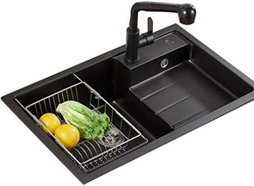 流し台シンク ホームリビングルームキッチン野菜と果物の洗浄テーブル バスルーム、バスルーム、トイレの洗面台 パウダールーム洗面台 (Color : Black, Size : 76*45cm)