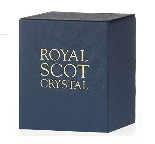 Royal Scot Crystal Hand Cut Glass Whisky Barrel Tumbler Glass 240ml 8oz in Iona Design   Scottish Whisky Glass with Presentation Box