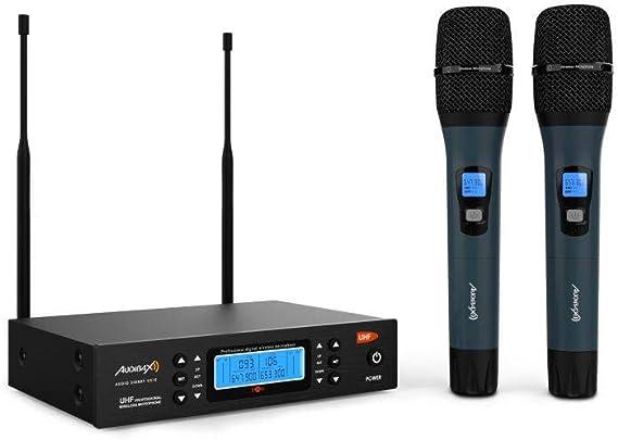 Audibax - Sidney U310 - Micrófono Inalámbrico Profesional UHF Doble - Set de 2 Micrófonos de Mano - Frecuencia Seleccionable - Rango de Cobertura ...