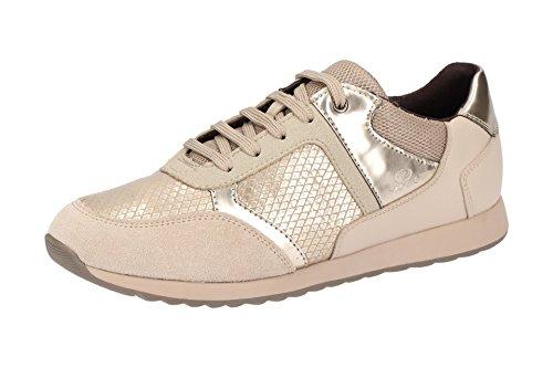 004AU Beige con Geox de Piel Lisa C6029 Mujer D846FC Zapatos Cordones 57PFq