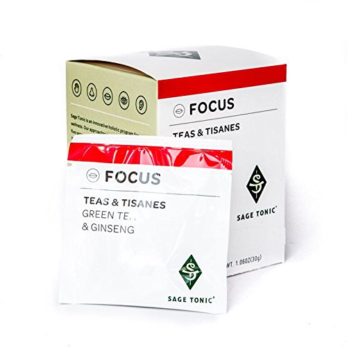 Sage Tonic Focus Tea - Green Tea & Ginseng - Herbal, Helps Focus, Naturally Caffeine Free, Gluten Free, GMO Free, All Natural 12 Tea Bags/box