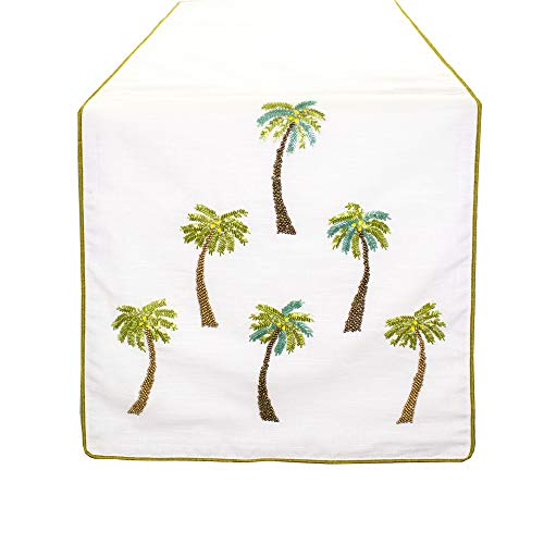 Fennco Styles Raquel Collection Beaded Palm Trees 100% Pure Cotton 16 x 72 Inch Table Runner - White Table Runner for Indoor Party, Family Gathering, Beach House and Home ()