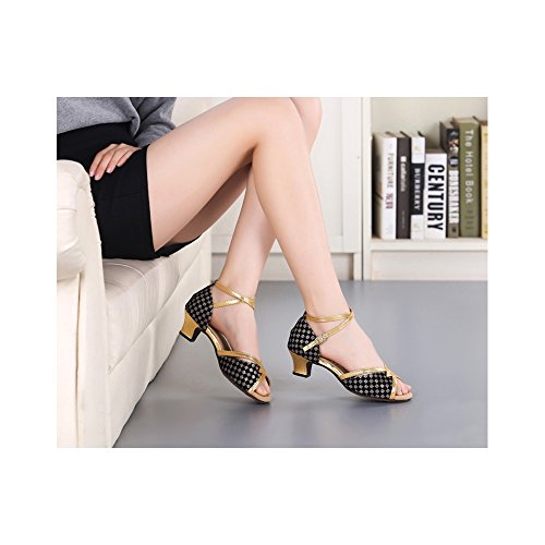 Donna Open Toe Sandali Moden Dance In Oro Nero 3.5