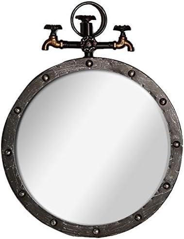 GUOWEI ミラー 壁掛け 高精細 メタル 額入り 化粧 田舎風 工業用スタイル 円形 (色 : Black copper, サイズ さいず : 50x5x64cm)