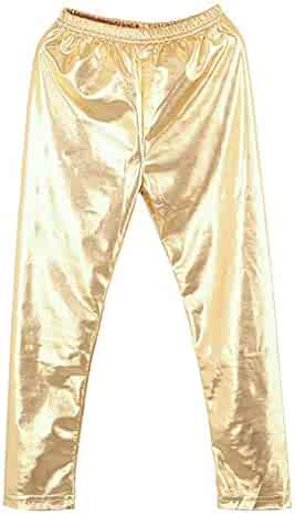 8d03dc21504 eroute66 Little Girls  Metallic Color Shiny Stretch Leggings