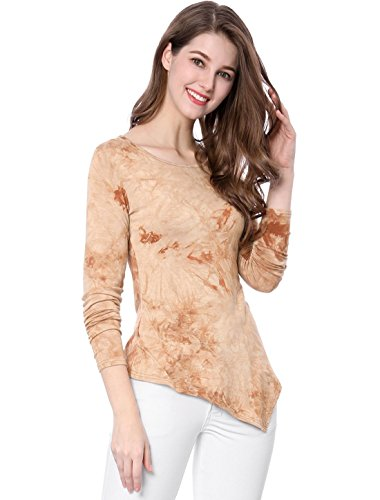 Allegra K Women's Long Sleeves Round Neck Tie-Dye Handkerchief Hem Top S Brown -