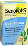 Senokot-S Natural Vegetable Laxative Ingredient Plus Stool Softener, Tablets, 60 tablets Pack of 2